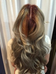 Balayage Effect with reds, copper, and greys.