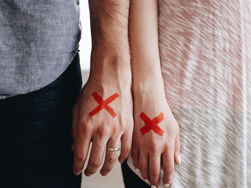 Red X Marked X Couple Stamped Stigma Hands